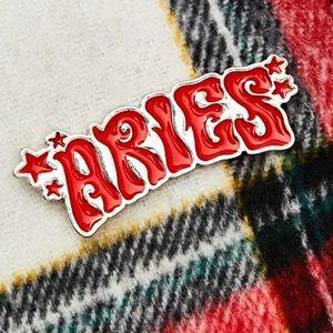 HOROSCOPEZ Always Aries Enamel Pin Red Silver